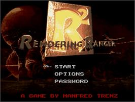 Title screen of Rendering Ranger R2 on the Nintendo SNES.
