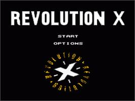 Title screen of Revolution X on the Nintendo SNES.