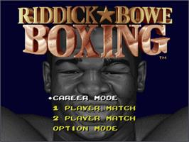 Title screen of Riddick Bowe Boxing on the Nintendo SNES.