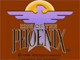 Title screen of Rise of the Phoenix on the Nintendo SNES.