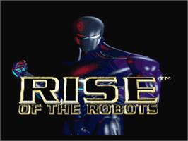 Title screen of Rise of the Robots on the Nintendo SNES.
