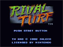 Title screen of Rival Turf on the Nintendo SNES.