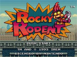 Title screen of Rocky Rodent on the Nintendo SNES.