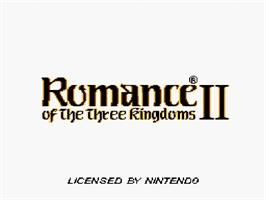 Title screen of Romance of the Three Kingdoms II on the Nintendo SNES.