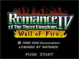 Title screen of Romance of the Three Kingdoms IV: Wall of Fire on the Nintendo SNES.
