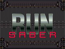 Title screen of Run Saber on the Nintendo SNES.