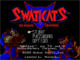 Title screen of SWAT Kats: The Radical Squadron on the Nintendo SNES.