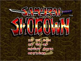 Title screen of Samurai Shodown on the Nintendo SNES.
