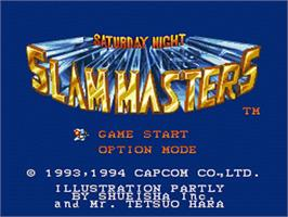 Title screen of Saturday Night Slam Masters on the Nintendo SNES.