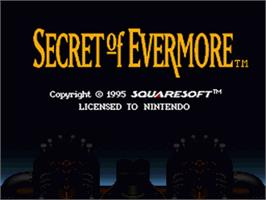Title screen of Secret of Evermore on the Nintendo SNES.