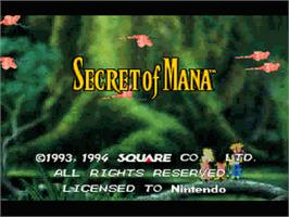 Title screen of Secret of Mana on the Nintendo SNES.