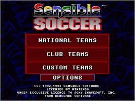 Title screen of Sensible Soccer: European Champions on the Nintendo SNES.