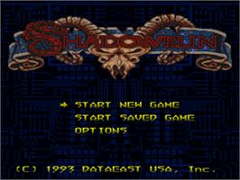 Title screen of Shadowrun on the Nintendo SNES.