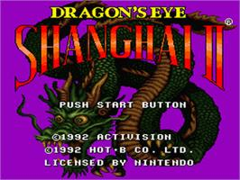 Title screen of Shanghai II: Dragon's Eye on the Nintendo SNES.