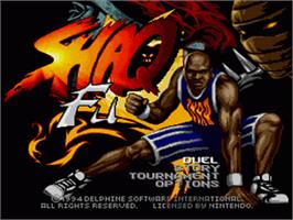 Title screen of Shaq Fu on the Nintendo SNES.