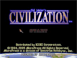 Title screen of Sid Meier's Civilization on the Nintendo SNES.