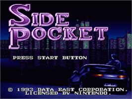 Title screen of Side Pocket on the Nintendo SNES.