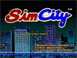 Title screen of SimCity on the Nintendo SNES.