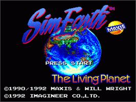 Title screen of Sim Earth: The Living Planet on the Nintendo SNES.