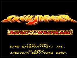 Title screen of Sküljagger: Revolt of the Westicans on the Nintendo SNES.