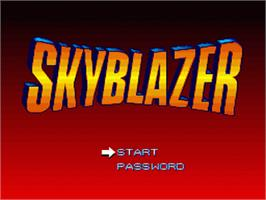 Title screen of Skyblazer on the Nintendo SNES.