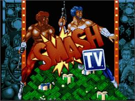 Title screen of Smash T.V. on the Nintendo SNES.