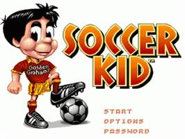 Title screen of Soccer Kid on the Nintendo SNES.