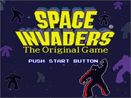 Title screen of Space Invaders on the Nintendo SNES.