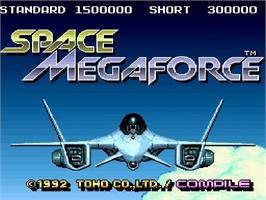 Title screen of Space Megaforce on the Nintendo SNES.