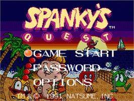 Title screen of Spanky's Quest on the Nintendo SNES.