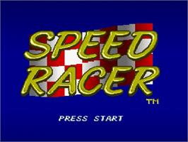 Title screen of Speed Racer in My Most Dangerous Adventures on the Nintendo SNES.