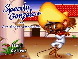 Title screen of Speedy Gonzales in Los Gatos Bandidos on the Nintendo SNES.