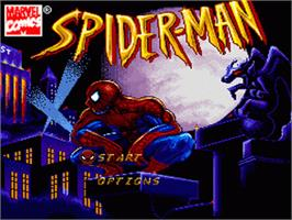 Title screen of Spider-Man: The Animated Series on the Nintendo SNES.