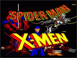 Title screen of Spider-Man and the X-Men: Arcade's Revenge on the Nintendo SNES.