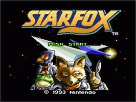 Title screen of Star Fox on the Nintendo SNES.