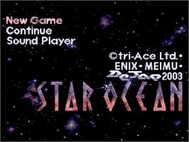 Title screen of Star Ocean on the Nintendo SNES.