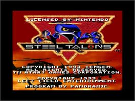Title screen of Steel Talons on the Nintendo SNES.