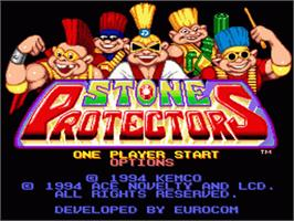 Title screen of Stone Protectors on the Nintendo SNES.