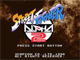 Title screen of Street Fighter Alpha 2 on the Nintendo SNES.