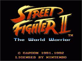 Title screen of Street Fighter II: The World Warrior on the Nintendo SNES.