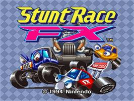 Title screen of Stunt Race FX on the Nintendo SNES.