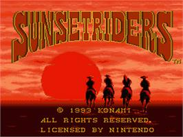 Title screen of Sunset Riders on the Nintendo SNES.