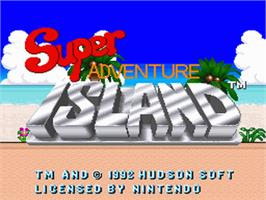 Title screen of Super Adventure Island on the Nintendo SNES.
