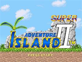Title screen of Super Adventure Island II on the Nintendo SNES.