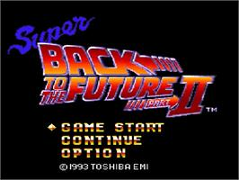 Title screen of Super Back to the Future: Part II on the Nintendo SNES.