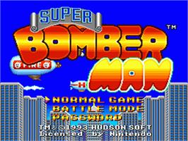 Title screen of Super Bomberman on the Nintendo SNES.