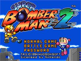 Title screen of Super Bomberman 2 on the Nintendo SNES.