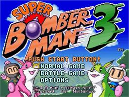 Title screen of Super Bomberman 3 on the Nintendo SNES.