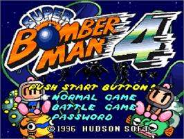 Title screen of Super Bomberman 4 on the Nintendo SNES.