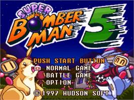 Title screen of Super Bomberman 5 on the Nintendo SNES.